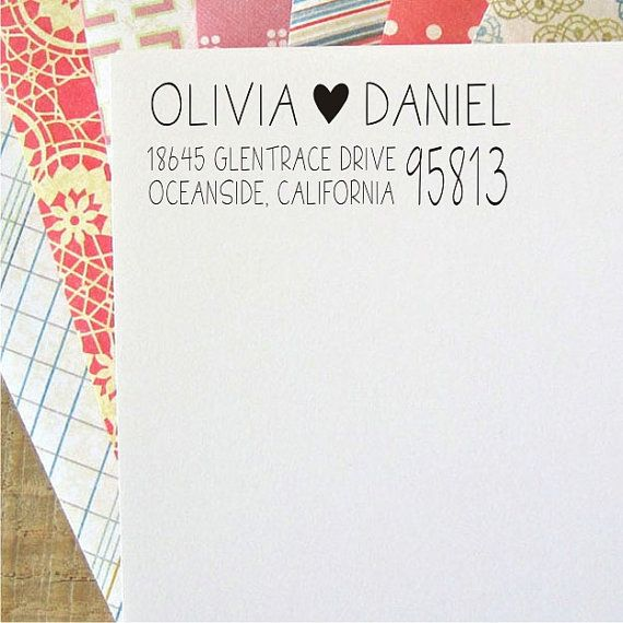 Return Address Stamp - Custom Address Stamp - Address Labels - Tall Thin Letters With Heart - Personalized Wedding Gift (032)