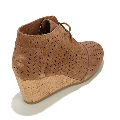 TOMS Desert Wedge Perforated Suede Lace-Up Bootie - Drizzle Gray