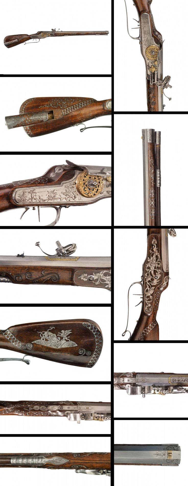 A GERMAN WHEEL-LOCK SPORTING RIFLE (MÜLLERBÜCHSE), THE STOCK INLAID WITH FINELY ENGRAVED IRON PLAQUES AND WIRE SCROLLWORK, CIRCA 1675.