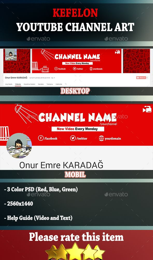 Youtube Channel Art Size Banner Thumbnail Icon: Youtube Channel Cover Art Template PSD. Download