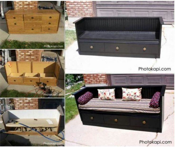 Space-saving dresser that becomes a slightly uncomfortable looking couch.  It's a great concept though, and it could be made more comfortable.