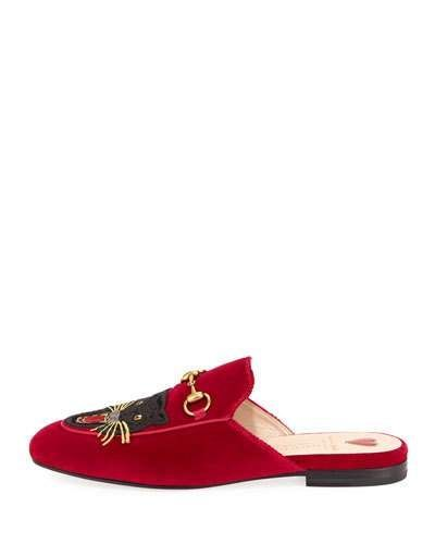 8844ff9ed79 Gucci Velvet Angry Cat Mule