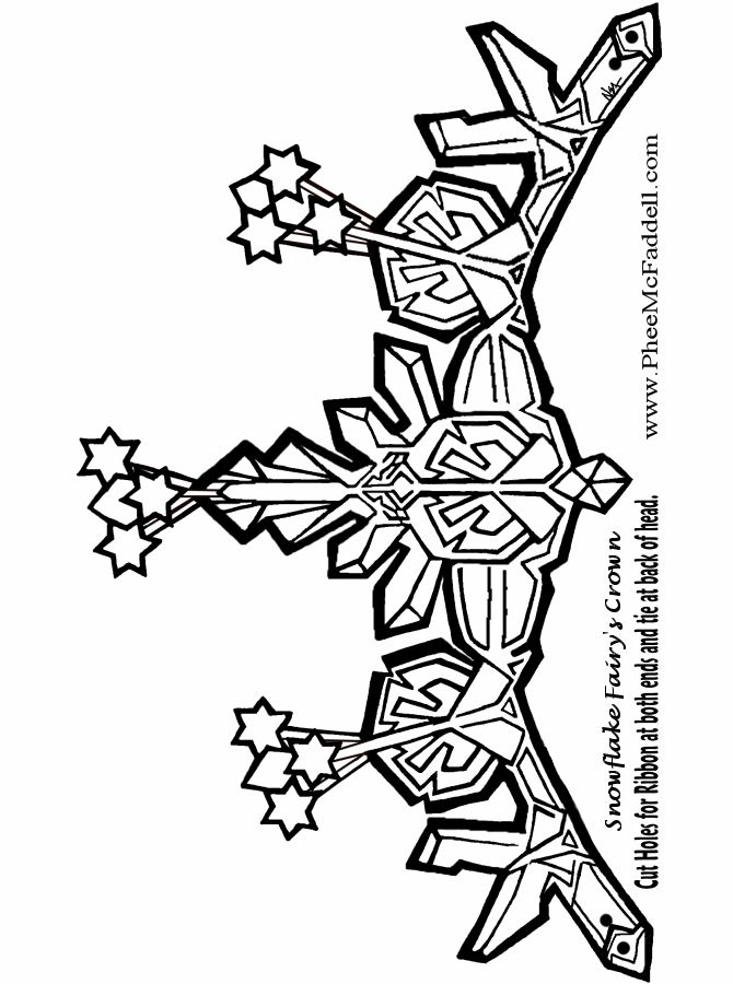 Snowflake Fairies Crown to color Black and White coloring and craft pages. www.pheemcfaddell.com