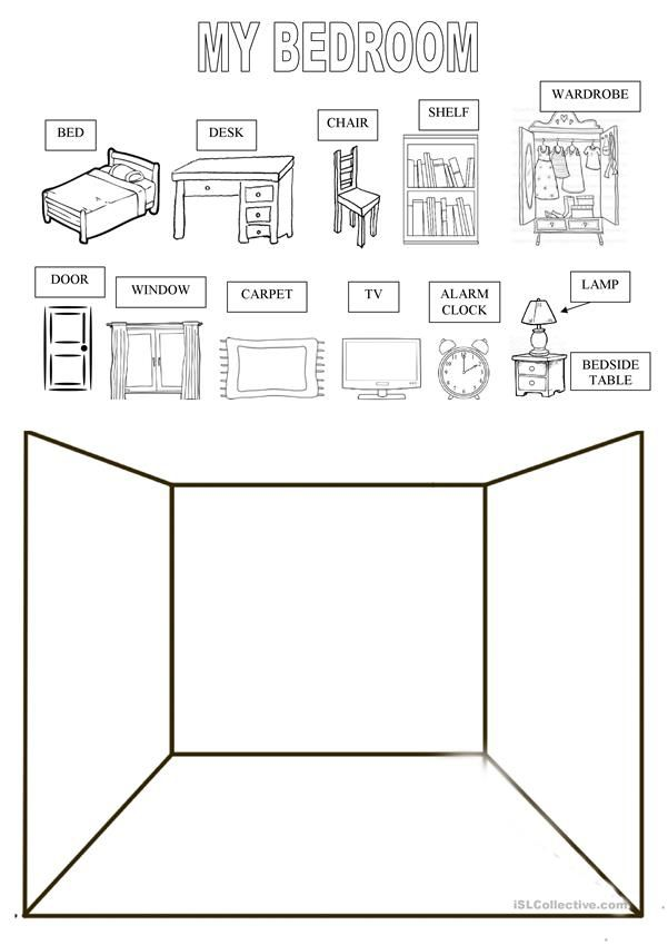 draw your bedroom english classes worksheets printable worksheets english exercises. Black Bedroom Furniture Sets. Home Design Ideas