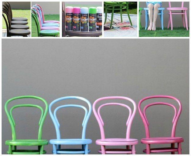 Sillas pintadas con pintura de colores pastel: | 35 impresionantes maneras de darle nueva vida a los muebles viejos