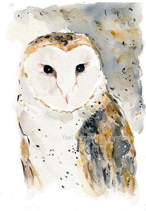 Barn Owl art print watercolor barn owl print wild by TheJoyofColor