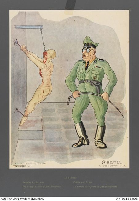 """Hanging by the nose. The 8 day torture of Jan Blazejowski"". Depiction of an SS officer torturing a man in a basement by hanging him up by his nose. The man is identified by the artist in the English title as Jan Blazejowski and his torture lasted 8 days. The original drawing reproduced in this offset lithograph was created by Polish artist Stanislaw Toegel (1905-1953) while held in a German labour camp at Gotteningen."
