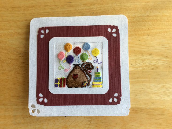 Cross Stitch Mouse, Ballons, Birthday Cake Birthday Card for Teens made by Karen Miniaci.