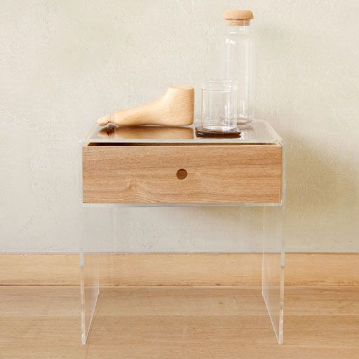 Image of the product METHACRYLATE TABLE WITH CONTRASTING WOODEN DRAWER