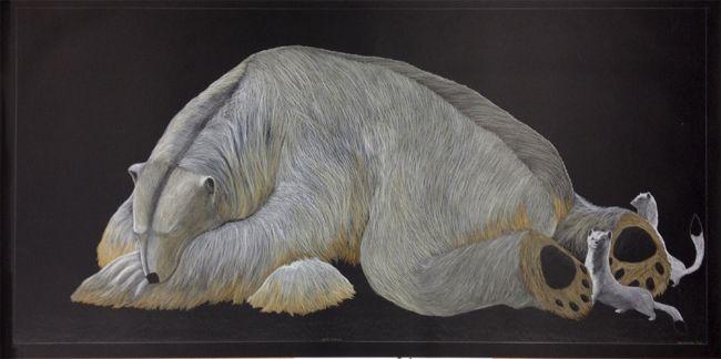 Tim Pitsiulak - Next Victim 48.5 x 95.5 Pencil Crayon (186-0552)