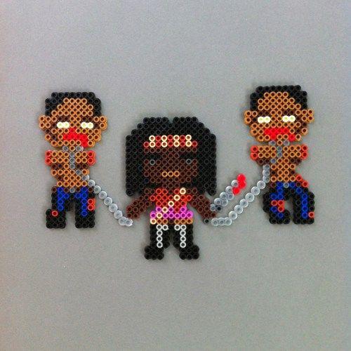 Michonne & zombie pets Walking Dead Perler Bead Magnet Set by HarmonArt