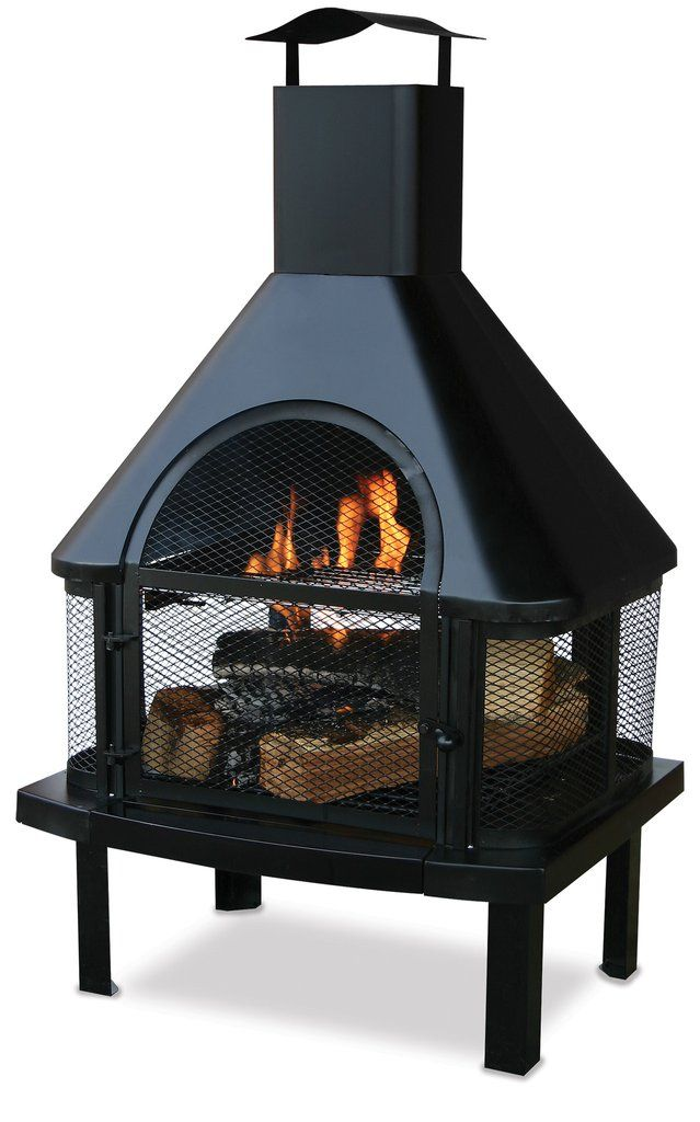 Black Wood Burning Outdoor Firehouse With Chimney Waf1013c