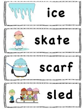 Winter Words. I'll use for spelling.:) Nice and big, just cut between the letters , scramble, and have Mr. Cutie spell the word. :)