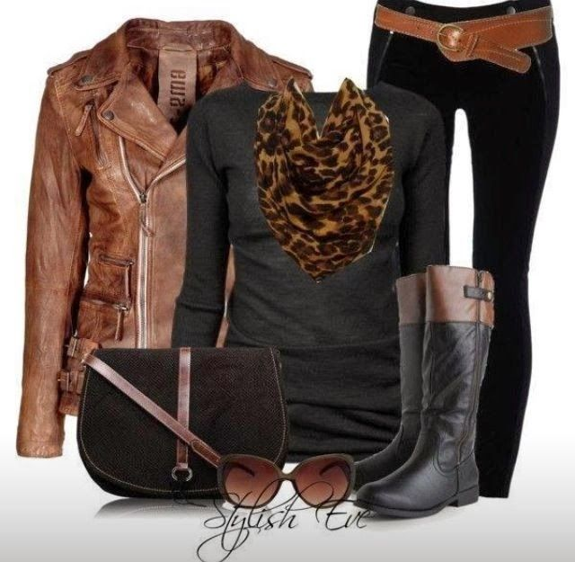 Adorable brown, Black blouse, black pants, scarf, long boots and handbag