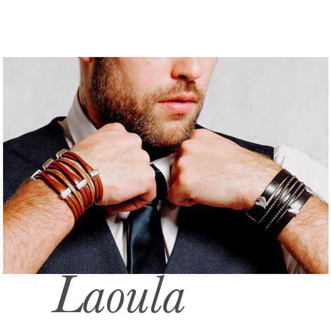 Bracelets en cuir manchettes marron et noir 269412