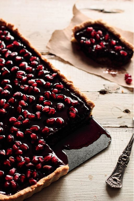 Chocolate pomegranate tart would be a decadent treat for a Valentine's dinner.