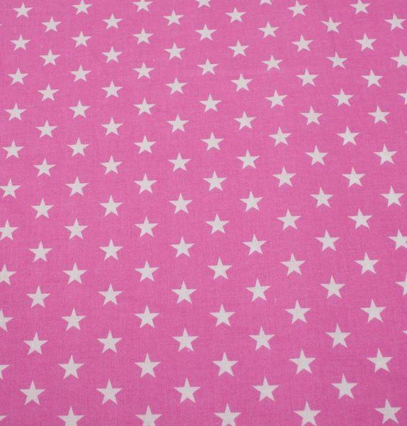 Lyserødt bomuldsstof - med små, hvide stjerner - køb det her