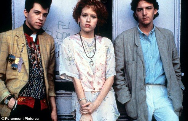 Not friends: Jon Cryer as Ducky, left, on the set of Pretty In Pink with co-stars Molly Ri...