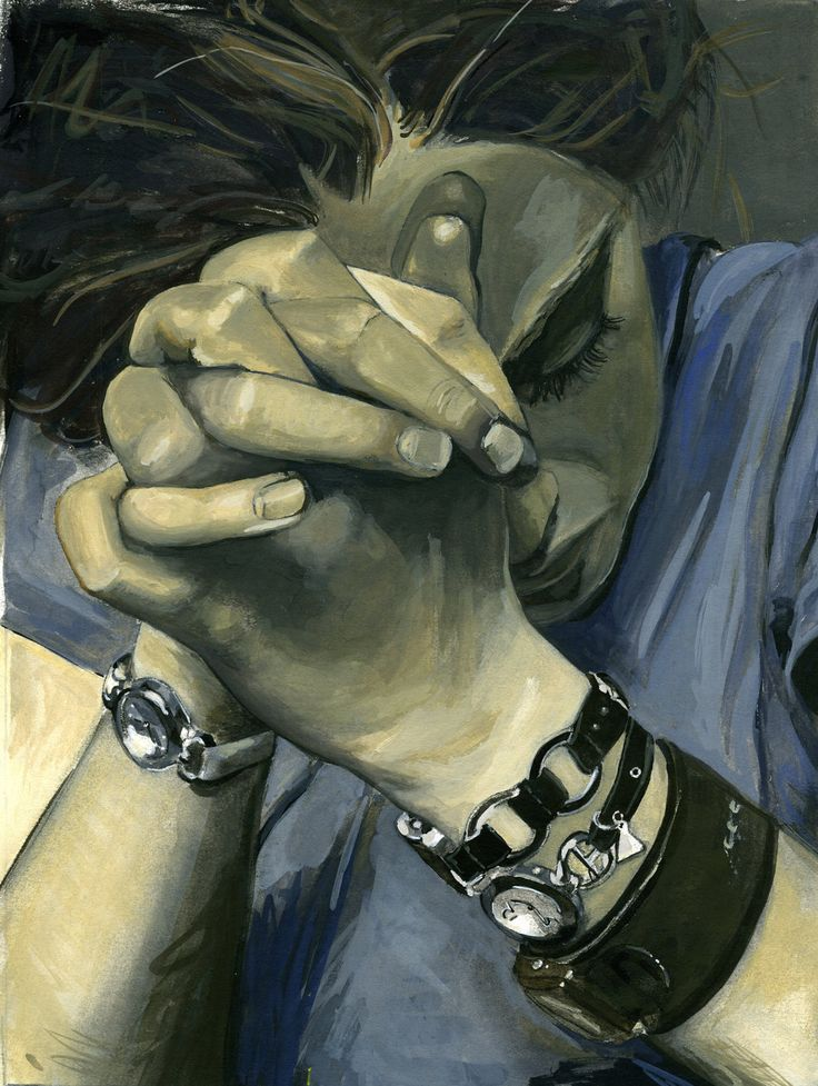 This painting depicts a deep sadness as though the subject has faced severe hardship. The darker colors that make up the background and the greyness of the skin assist in the depressed state.