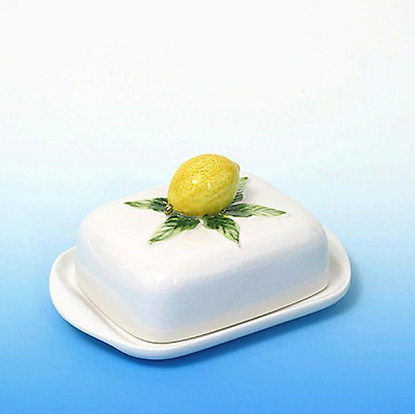 Italienische Bassano Keramik,  Butterdose mit Zitronen, Neu