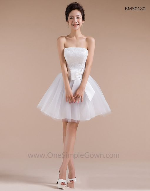 RM89 - Strapless White Red Lace Tulle ROM Dinner Short Dress - OneSimpleGown.com  details : http://bit.ly/BMS0130