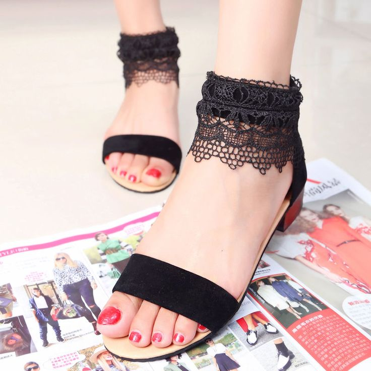 Chic Hollow Womens Lace Casual Open Toe Zipper Chunky Heels Pure Sandals Shoes #othernew #Gladiator