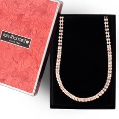 Rose gold diamante crystal link necklace