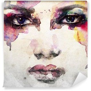 woman portrait .abstract watercolor .fashion background Washable Wall Mural