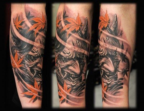 Hannya with leafs tattoo