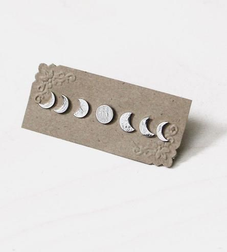 Show off your lunar love with this set of moon phase earrings.