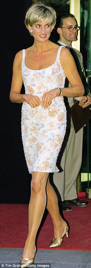 Diana arriving at the New York launch of an auction of her dresses, 1997