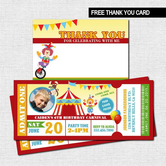 CARNIVAL TICKET INVITATIONS - Circus Birthday Party + BONUS THANK YOU CARD (Printable Files) -  by nowanorris on Etsy