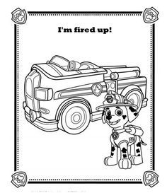 Chase PAW Patrol Coloring Page | Are you all fired up like Marshall from PAW Patrol?