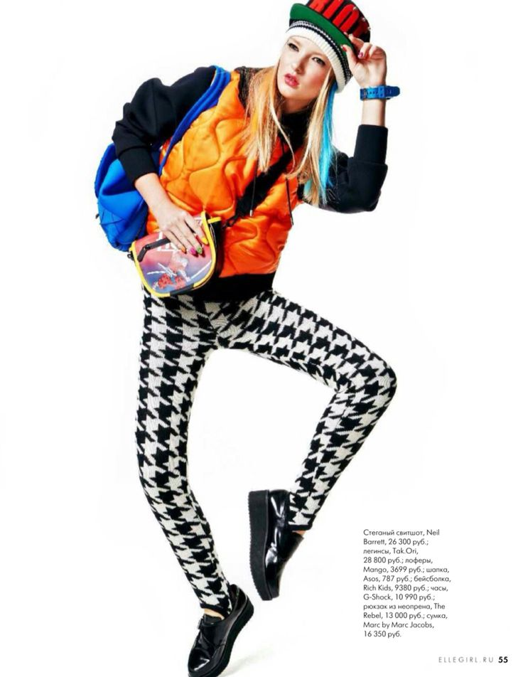 Tak.Ori Made in Italy houndstooth print leggings from FallWinter14 collection within Elle Girl Russia January Issue