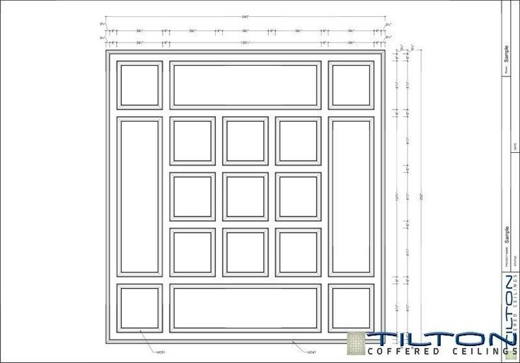 Coffered Ceiling Design Drawing - Square Grid 01