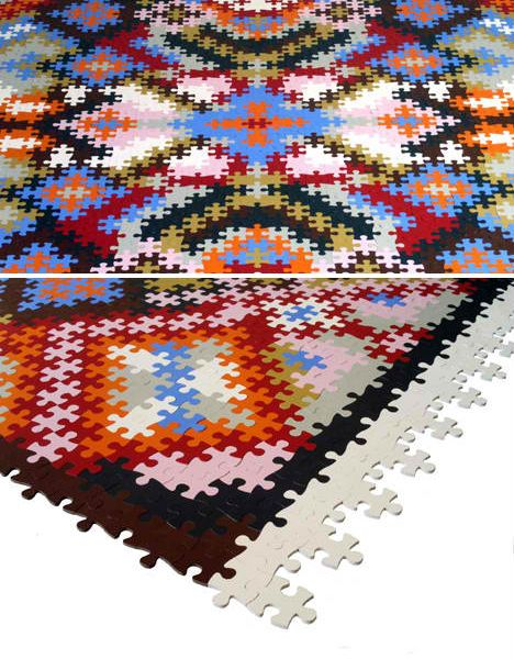 Put a rug together in the exact colors, patterns, shapes and sizes that you want with completely customizable puzzle rugs by Katrin Sonnleitner. The rug is made from cut pieces of recycled, natural and synthetic rubber.