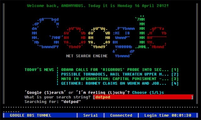 Nerdtastic! A working google interface that emulates an old-school direct-dial BBS! Brings back memories!