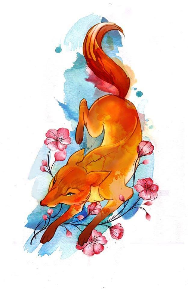 Chronic Ink Tattoo - Toronto Tattoo Watercolour fox design done by Tegan.