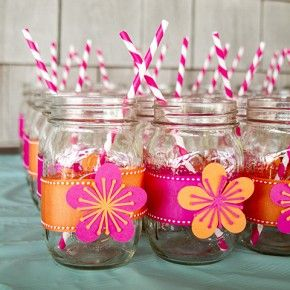 Can we use Laura's extra mason jars for decor and drinks?     Fun with Silhouette Cameo: Luau Themed Bridal Shower