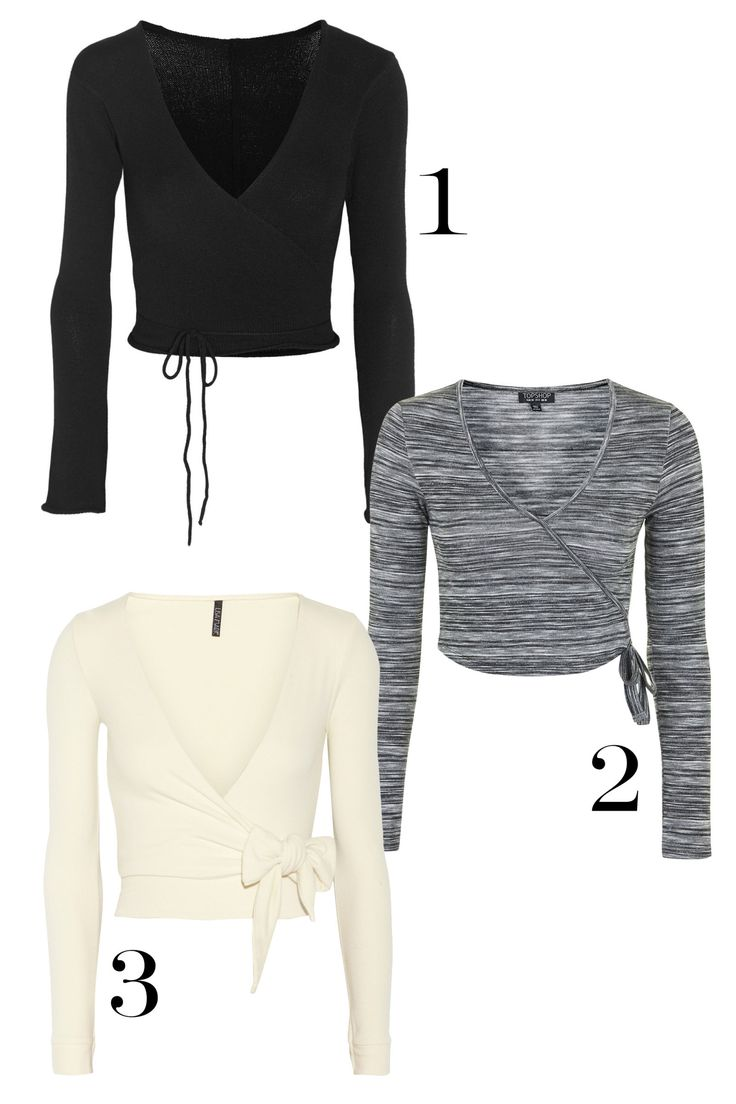 You've got to love a transitional layering piece, and a cropped wrap top is just that. Whether you're heading to ballet barre class or simple meeting a friend for brunch, these throw-overs will be a lovely option. 1. Ballet Beautiful Belle Wrap-Front Knitted Jersey top, $155; net-a-porter.com. 2. Topshop Space Dye Ballet Wrap Top, $38; topshop.com. 3. Lisa Marie Fernandez Dree micro-fiber wrap top, $300; net-a-porter.com.   - MarieClaire.com