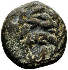 Roman Judea - Pontius Pilatus (26-36 n.Chr.), gouverneur van Judea onder keizer Tiberius (14-37 n.Chr.). AE Prutah gedateerd jaar 17, 30/31 n.Chr.