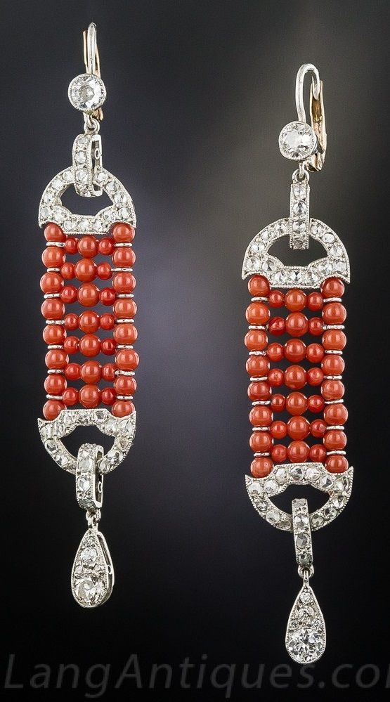 A pair of Art Deco platinum, diamond and coral earrings, 1920s. #ArtDeco #earrings
