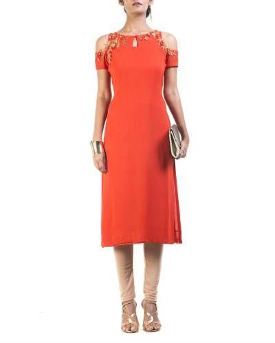 Orange Cold Shoulder Tunic I Shop at :http://www.thesecretlabel.com/designer/anushree-agarwal
