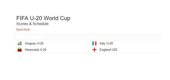 Fifa u20 world cup semi final Going to start Tomorrow The lovers of this game are very keen to see the scheme. Live, tickets results