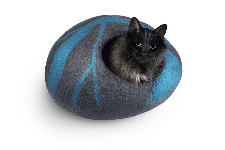 Amazon.com : CatGeeks Premium Felt Cat Cave (Large) - All-Natural 100% Merino Wool - Handmade Indoor Cat House - Soft, Comfortable Cat Bed - Ideal for Kittens & Large Cats, Grey/Aquamarine : Pet Supplies