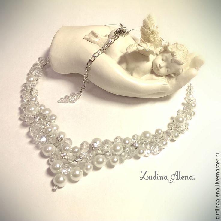 Купить Свадебное Колье Crystal. Свадебное ожерелье. - белый, айвори, колье, свадебное колье