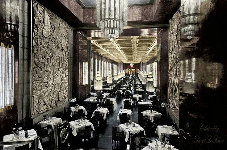 Ss Normandie  1935  Le Granger Dining Hall Aboard The French Art Deco Ocean Liner Ss Normandie