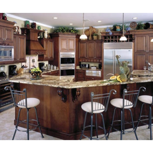Decorating Above Kitchen Cabinet Design: Walnut Cabinets With Tile Floor