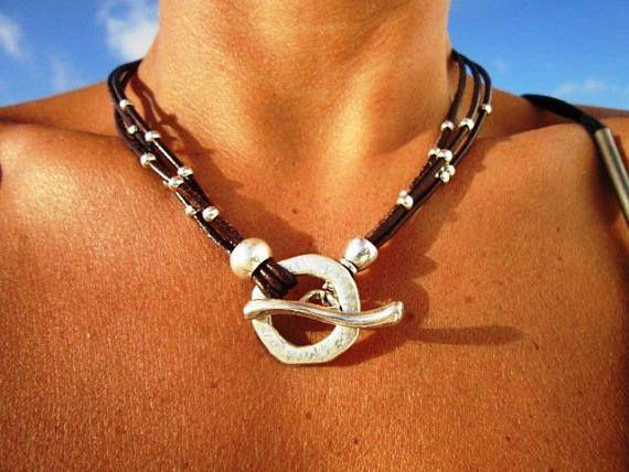collier cuir argent femme