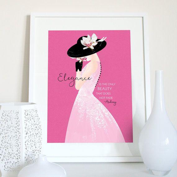 Audrey Hepburn elegance quote Audrey Hepburn print Audrey